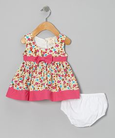Pink Floral Bow Dress & Diaper Cover - Infant by sissymini #zulily #zulilyfinds