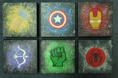 Hand painted Avengers Canvas 6X6 individual canvases Sold as a set or individually