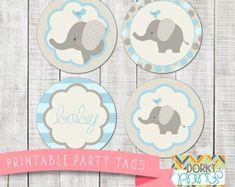 Blue Elephant Baby Shower Printables PDF  Printable Party