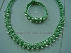 Apple Green Crochet Necklace with matching bracelet by CrocKnits