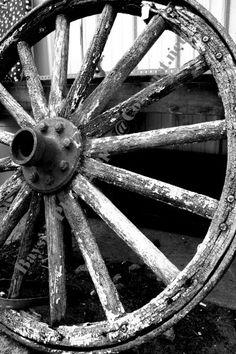 Vintage Wagon Wheel Black and White Fine Art Photograph | BaysidePhotography - Photography on ArtFire