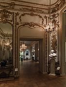 Superb carving, partly in high relief, constitutes the chief glory of this paneling, which comes from one of the private residences of eighteenth century Paris, the Hôtel de Varengeville, which still stands, much altered, at 217, boulevard Saint-Germain