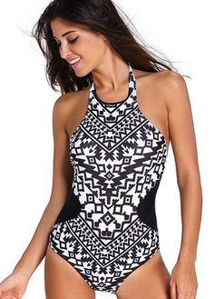 b93889b9ce Black and White Tribal Aztec Print High Neck One Piece Swimsuit One Piece  Swimsuit