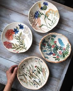 Tag someone you know who would love these ceramic plates made by the talented 🌿 Pottery Painting Designs, Pottery Designs, Paint Designs, Pottery Ideas, Ceramic Plates, Ceramic Pottery, Pottery Art, Slab Pottery, Pottery Studio