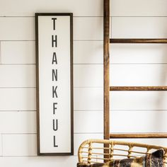 Thankful sign for fall. Farmhouse style wall decor. Vertical sign.