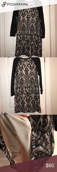 Floral Black Lace Dress Beautiful black lace with light color lining under. The sleeves feel like sweater sleeves. Juicy Couture Dresses Long Sleeve