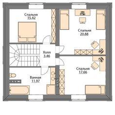 Проект дома C-143 - Проекты домов и коттеджей в Москве Style At Home, House Layouts, House Plans, Floor Plans, How To Plan, House Styles, Projects, Cottage Style Houses, House Construction Plan
