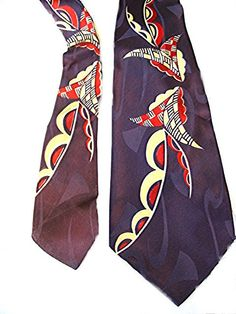 Vintage mens 1940s necktie Purple w red and yellow art deco design Swing Big Band