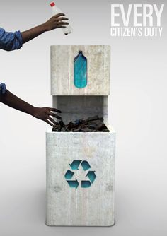 Concrete Rubbish Bin. Encourage people to segregate and recycle trash,