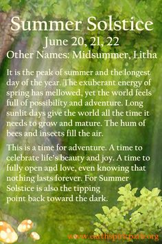 We celebrate the expansive energy of the longest day of the year. Celtic Paganism, Wiccan Sabbats, 1st Day Of Winter, Midsummer Dream, Witch Board, Animal Spirit Guides, Toil And Trouble, Nothing Lasts Forever, Summer Solstice