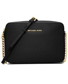 MICHAEL Michael Kors Jet Set Travel Large Crossbody BLACK/GOLD or BLOSSOM/GOLD(Pastel Pink) $148.00