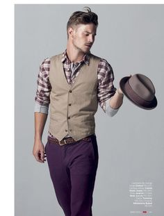 Vest, plaid button-up, colored pants, belt