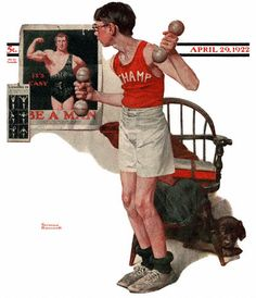 Boy Lifting Weights, the Norman Rockwell Saturday Evening Post cover Norman Rockwell Prints, Norman Rockwell Paintings, Peintures Norman Rockwell, The Saturdays, Art Of Manliness, Saturday Evening Post, Photomontage, American Artists, Belle Photo