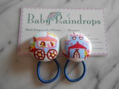 Princess Carriage and Castle pony tail holders by Baby Raindrops.
