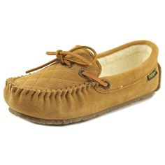 Old Friend Molly Women Moc Toe Leather Tan Slipper ($20) ❤ liked on Polyvore featuring shoes, slippers and khaki