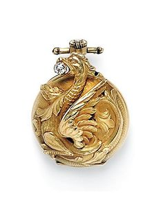 Art Nouveau 18kt Gold and Diamond Open-face Pendant Watch, France, designed as a griffin clutching an old mine-cut diamond, enclosing a stem-wind, pin-set movement.