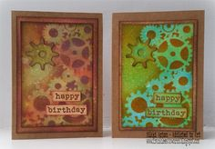 Male cards using Distress Oxides and That's Crafty Dinky Cogs Stencil. Nikki Acton
