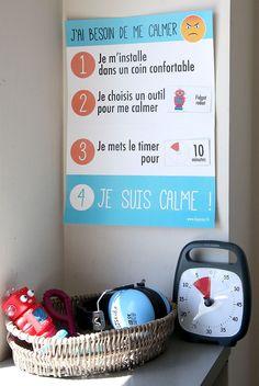 Calming down steps: great tool for classroom management. Une affiche à découper et à personnaliser, pour inciter les enfants et adolescents à se calmer lorsqu'ils sont énervés ou en colère ! Utilisée en complément des Time Timer et de produits tels que les fidgets, elle permet de se relaxer et rester zens !