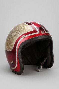 Vintage '70s Sparkle Racer Stripe Novelty Helmet
