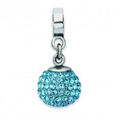 Sterling Silver Reflections March Swarovski Elements Ball Dangle Bead