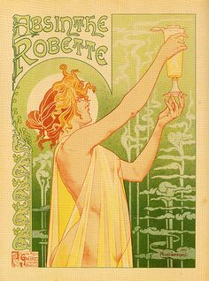 Art Nouveau poster for Absinthe by Henri Privat-Livemont, not by Alphonse Mucha. Art Nouveau Poster, Art Prints, Framed Art, Mucha Art, Fine Art, Vintage Art, Poster Art, Art, Advertising Poster