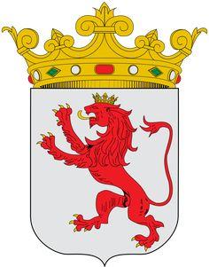 Escudo de León - España. León es una provincia española perteneciente a la comunidad autónoma de Castilla y León. Está situada al noroeste de la península Ibérica y su capital es León. Limita con el Principado de Asturias y Cantabria por el norte; con Galicia, por el oeste; con las provincias de Zamora y Valladolid por el sur; y con la provincia de Palencia por el este. Creada con la división provincial de 1833, fue adscrita a la región del Reino de León.