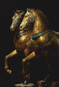"""Horses of Saint Mark."" Bronze. Attributed to the Greek sculptor Lysippos, 4th century BCE. Venice, Basilica of St. Mark."
