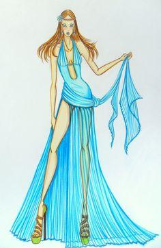 Stellita PinK StaR: COLLEZIONE Primavera estate shiffon plissettato  fashion sketches blue dress