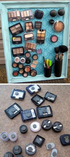 Make-up Magnet Board Click Pic for 18 DIY Makeup Storage Ideas for Small Bedrooms Easy Organization Ideas for the Home Diy Makeup Storage, Make Up Storage, Small Storage, Diy Storage Ideas For Small Bedrooms, Craft Storage, Bathroom Organization, Makeup Organization, Organization For Small Bedroom, Organizing Small Bedrooms