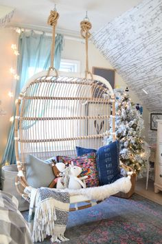 This double hanging chair is the perfect boho chic look for our girls room! They love sitting and lounging in this chair. Come see how we decorated it for Christmas with some holiday style! Kids Hanging Chair, Diy Hanging, Swinging Chair, Modern Hanging Chairs, Hanging Chair With Stand, Hanging Beds, Hanging Plants, Girl Bedroom Designs, Girls Bedroom