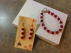 Bracelet with Matching drop earrings Red Ruby by BlessedBeeMelisa, $35.00