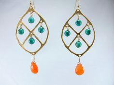 Beautiful Turquoise and Orange Chalcedony Chandelier Earrings