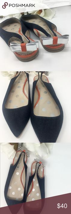 ⚜️Boden Sling backs shoes⚜️ Beautiful sling back Boden Euro 42 shoes⚜️Denim  body with silver bow accent and orange suede trim⚜️Good condition with minor scuff marks on heels⚜️ Boden Shoes