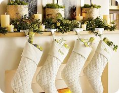@KatieSheaDesign ♡❤ #HassleFreeHolidays crisp, white stockings are beautiful hung against the bright greenery.