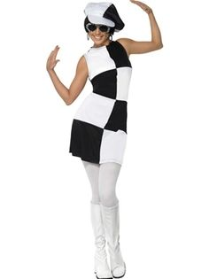 60 Mod Colour Block Grid Dancer Costume Adult Black White