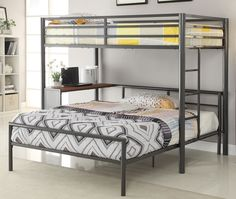 twin over full | Fisher Twin Over Full Metal Work Station Bunk Bed