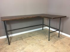 L-Shaped Desk, x Industrial Reversible Corner Computer Office Desk Table Workstation for Home Solid Wood & Metal Pipe Legs Shape Reclaimed, Reclaimed Wood Furniture, Reclaimed Barn Wood, Solid Wood Furniture, Repurposed Furniture, Open Office, Office Bar, Office Table, Office Spaces