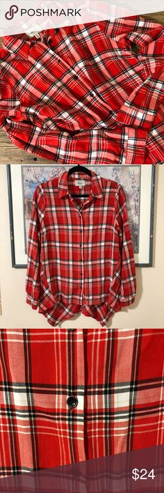 """NWOT Silky Soft Bass Button Up NWOT Button up red, white, and black shirt from G. H. Bass. The material feels cool to the touch and is nice and lightweight for layering. The liver back has a slight shark bite hem. Throw on some leggings and boots and go! The buttons are a vintage wear metal. Size M. 26"""" long in front, 30"""" long to lowest point in back. 20"""" pit to pit. 100% rayon. Bass Tops Button Down Shirts"""