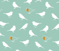 A redbreast among sparrows fabric by mariao on Spoonflower - custom fabric