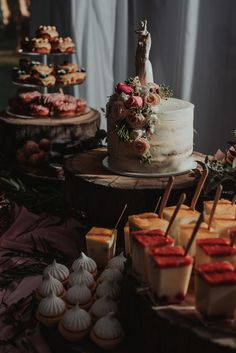 This wedding cake + dessert spread is reception goals   Image by Shannon Stent Images