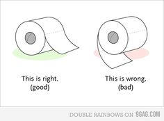 "The age old question of, ""Should the toilet paper fall over or hang under?""  I think this nailed it!"