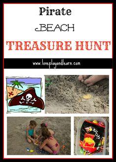 Fun Beach Activity for Kids- Pirate Treasure Hunt! So fun!