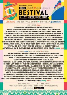 Bestival 2013 Lineup, September....I wish I lived in the UK