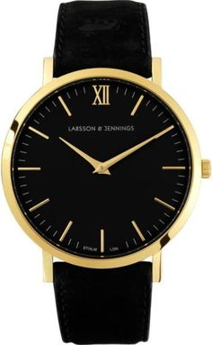 Larsson & Jennings Lader Black Calf Leather Watch - Gold - Watches