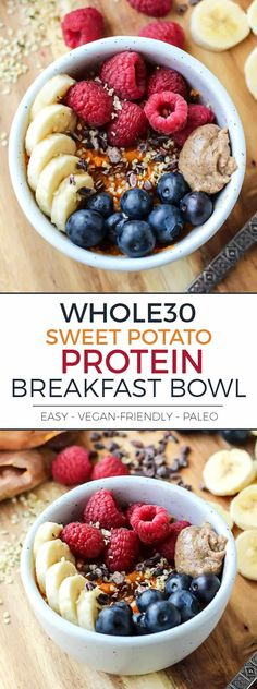 Sweet Potato Protein Breakfast Bowl is so simple yet so good! Gluten-free and vegan-friendly.This Sweet Potato Protein Breakfast Bowl is so simple yet so good! Gluten-free and vegan-friendly. Whole 30 Breakfast, Breakfast Bowls, Healthy Breakfast Recipes, Clean Eating Recipes, Paleo Recipes, Whole Food Recipes, Vegan Breakfast, Free Breakfast, Avacado Breakfast