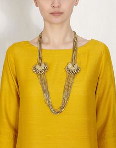 Twin Crescent Ghungroo Multiple Gold Chain Necklace -RITIKA SACHDEVA