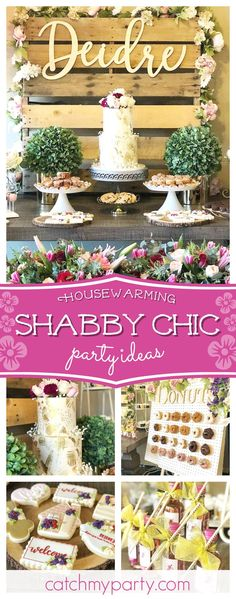 Take a look at this wonderful shabby chic housewarming party! The donut wall is gorgeous!! See more party ideas and share yours at CatchMyParty.com #catchmyparty #partyplanning #housewarming #shabbychic #rustic