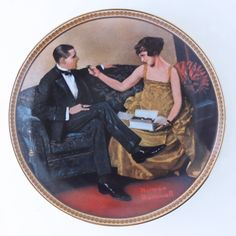 """Norman Rockwell Knowles Plate """"Flirting in the Parlor"""" - Flotsam from Michigan  - 1"""