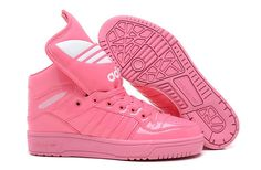 Adidas ObyO Jeremy Scott M Attitude Logo eye-catching fashion finishing touch, the whole pair of shoes as the most prominent feature, in the style of architecture color and material can be called musical personality fashion the best place for outdoor recreation-oriented design direction the Jeremy Scott Shoes, and many more polished texture based designs.