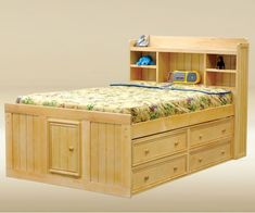 full-size-captain-bed-frame-with-storage-tiered- & platform captains bed queen cool design   Queen Beds   Pinterest ...